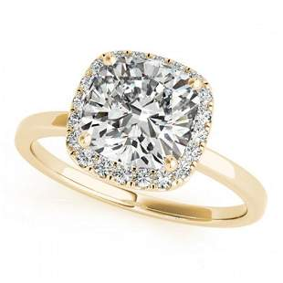 1.15 ctw Certified VS/SI Cushion Diamond Halo Ring 18k