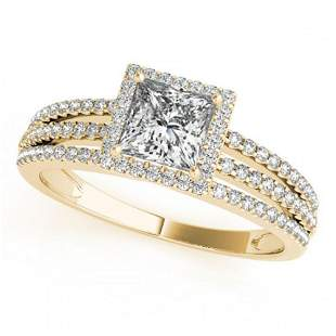 0.76 ctw Certified VS/SI Cushion Diamond Halo Ring 18k