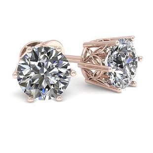 1.05 ctw Certified VS/SI Diamond Stud Earrings 18k Rose