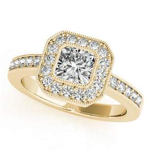 0.8 ctw Certified VS/SI Cushion Diamond Halo Ring 18k