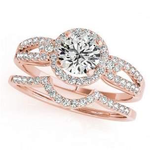 1.36 ctw Certified VS/SI Diamond 2pc Wedding Set Halo