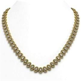 28.47 ctw Oval Cut Diamond Micro Pave Necklace 18K