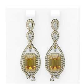 12.86 ctw Canary Citrine & Diamond Earrings 18K Yellow
