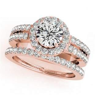 1 ctw Certified VS/SI Diamond 2pc Wedding Set Halo 14k