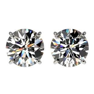 3.05 ctw Certified Quality Diamond Stud Earrings 10k