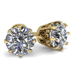 1.50 ctw VS/SI Diamond Stud Solitaire Earrings Vintage
