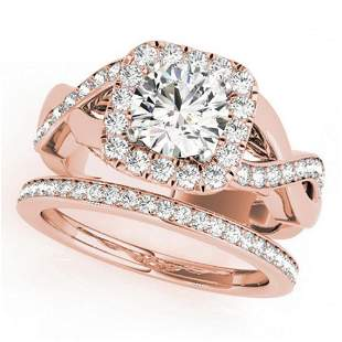 2 ctw Certified VS/SI Diamond 2pc Wedding Set Halo 14k