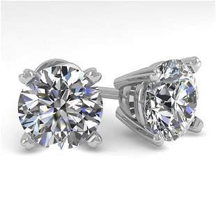 4 ctw Certified VS/SI Diamond Stud Earrings 14K White