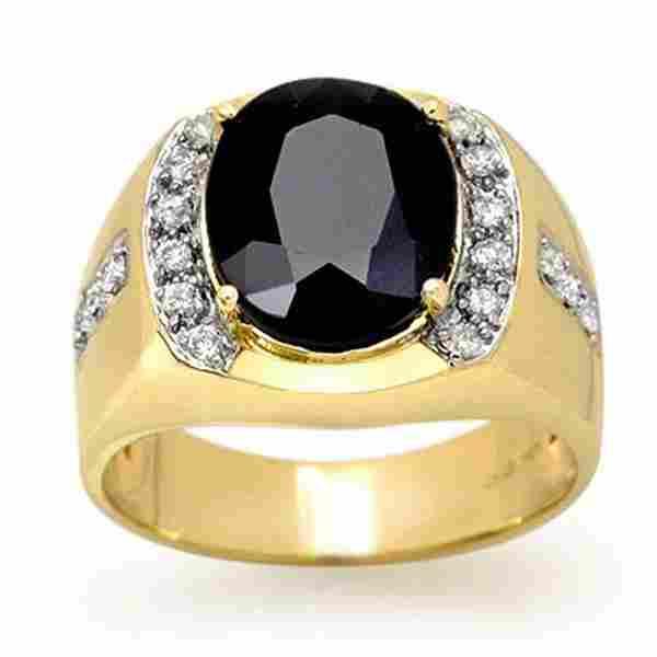 6.58 ctw Blue Sapphire & Diamond Men's Ring 10k Yellow