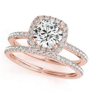 1.45 ctw Certified VS/SI Diamond 2pc Wedding Set Halo