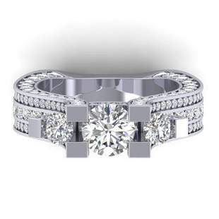 5.5 ctw VS/SI Diamond Art Deco 3 Stone Micro Ring 14k