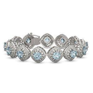 32.95 ctw Aquamarine & Diamond Victorian Bracelet 14K