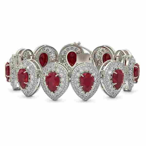 56.04 ctw Certified Ruby & Diamond Victorian Bracelet