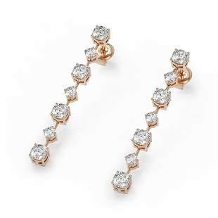 2.88 ctw Cushion Cut Diamond Designer Earrings 18K Rose