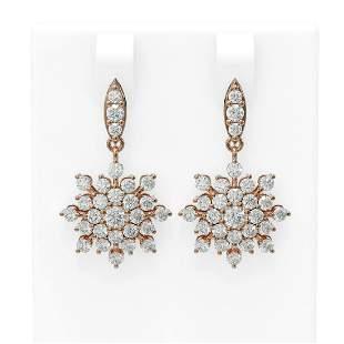 4.01 ctw Diamond Earrings 18K Rose Gold - REF-264A4N