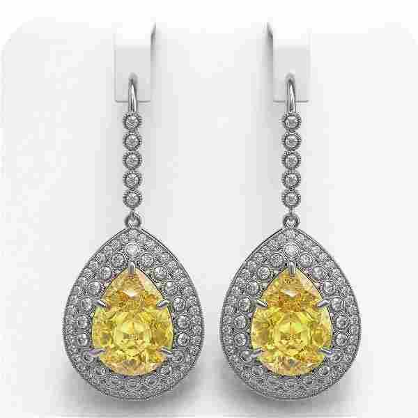 33.92 ctw Canary Citrine & Diamond Victorian Earrings