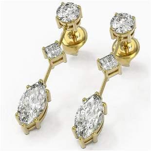 2.32 ctw Marquise Cut Diamond Designer Earrings 18K
