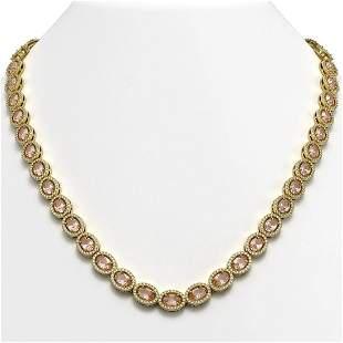 31.96 ctw Morganite & Diamond Micro Pave Halo Necklace