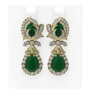 14.63 ctw Emerald & Diamond Earrings 18K Yellow Gold -
