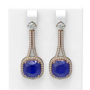 12.28 ctw Sapphire & Diamond Earrings 18K Rose Gold -