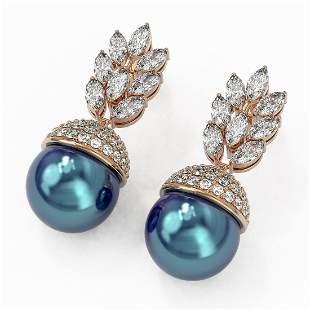 5.78 ctw Marquise Diamond & Pearl Earrings 18K Rose