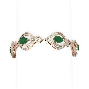 22.03 ctw Emerald & Diamond Bracelet 18K Rose Gold -