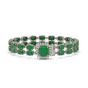 19.85 ctw Emerald & Diamond Bracelet 14K White Gold -