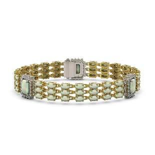 20.67 ctw Opal & Diamond Bracelet 14K Yellow Gold -