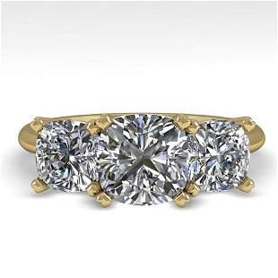 2.0 ctw Cushion VS/SI Diamond 3 Stone Designer Ring 18k