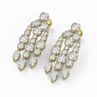 6.4 ctw Round & Marquise cut Diamond Earrings 18K