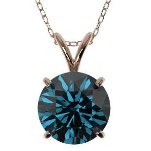2 ctw Certified Intense Blue Diamond Solitaire Necklace