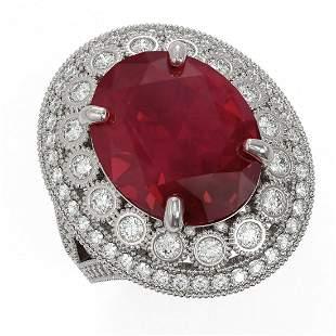 13.85 ctw Certified Ruby & Diamond Victorian Ring 14K
