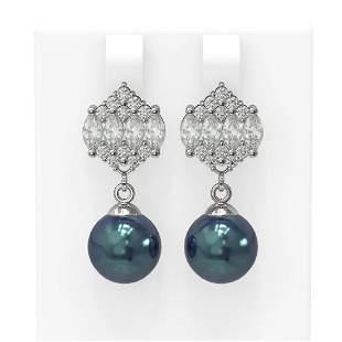2.98 ctw Diamond & Pearl Earrings 18K White Gold -