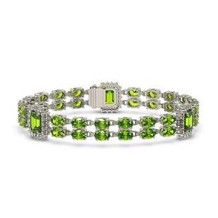 17.64 ctw Peridot & Diamond Bracelet 14K White Gold -
