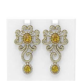 14.37 ctw Canary Citrine & Diamond Earrings 18K Yellow
