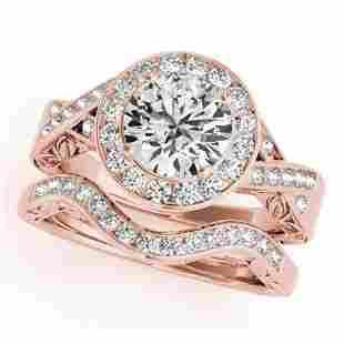 1.89 ctw Certified VS/SI Diamond 2pc Wedding Set Halo