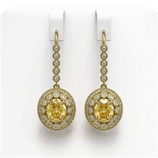 7.65 ctw Canary Citrine & Diamond Victorian Earrings