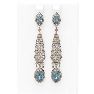 9.6 ctw Aquamarine & Diamond Earrings 18K Rose Gold -