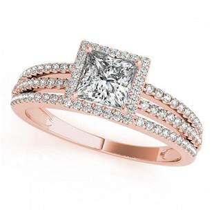 0.95 ctw Certified VS/SI Princess Diamond Halo Ring 18k