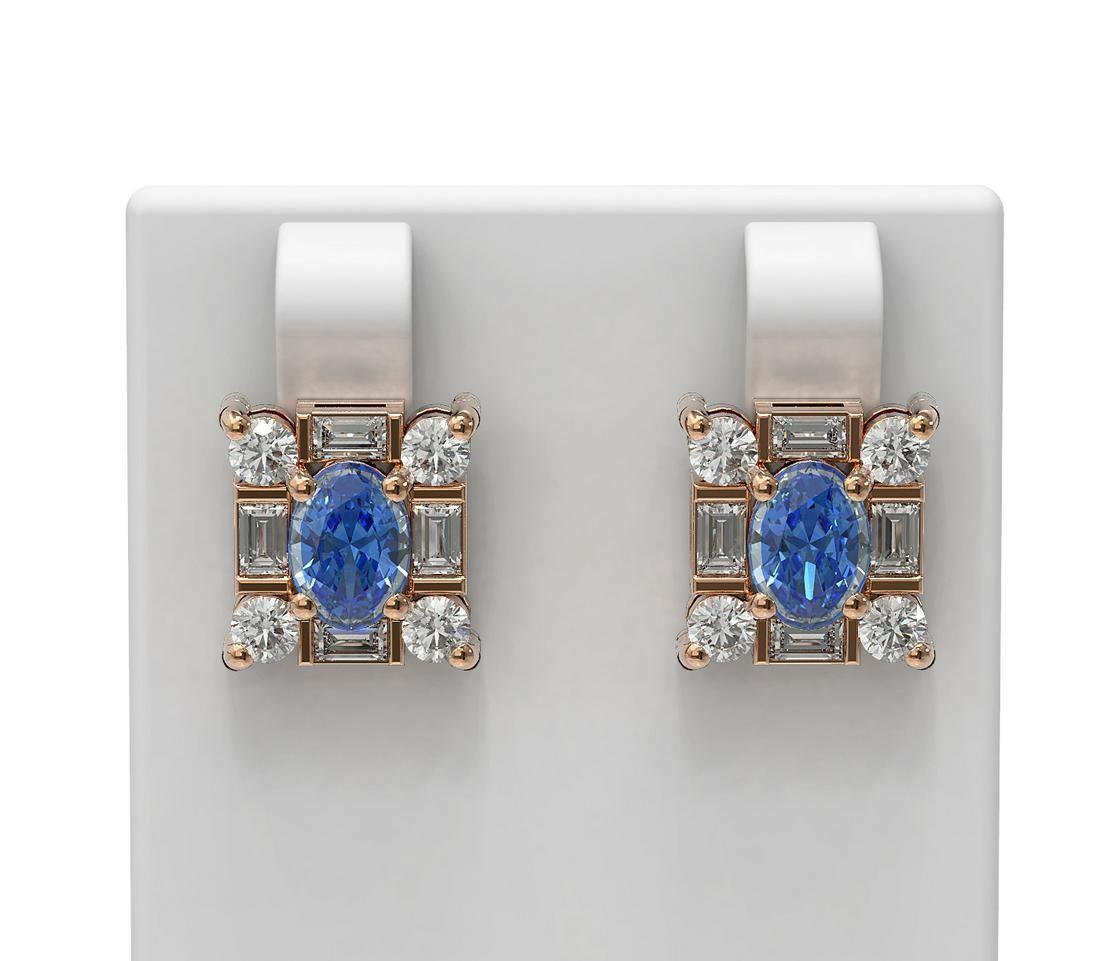 3.64 ctw Tanzanite & Diamond Earrings 18K Rose Gold -