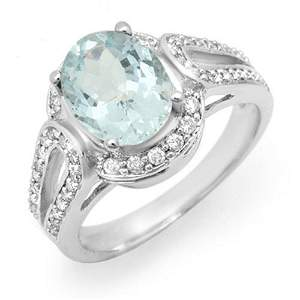 2.50 ctw Aquamarine & Diamond Ring 14k White Gold -
