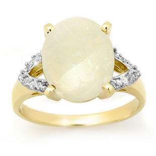 .55 ctw Opal & Diamond Ring 10k Yellow Gold -