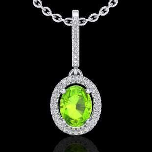 2 ctw Peridot & Micro Pave VS/SI Diamond Necklace Halo