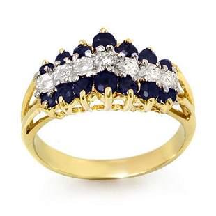 1.02 ctw Blue Sapphire & Diamond Ring 10k Yellow Gold -