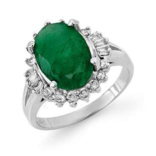 3.39 ctw Emerald & Diamond Ring 14k White Gold -