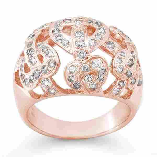 0.85 ctw Certified VS/SI Diamond Ring 14k Rose Gold -