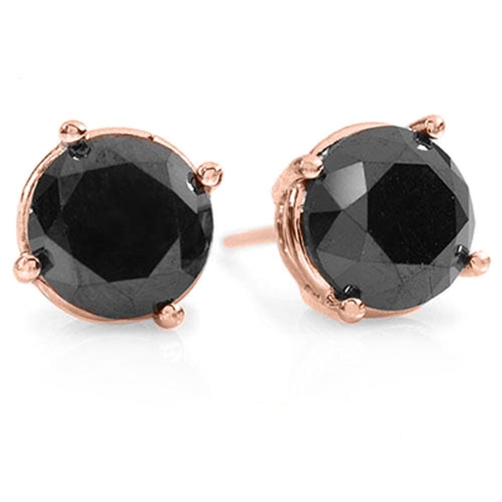 2.0 ctw VS Certified Black Diamond Stud Earrings 18k