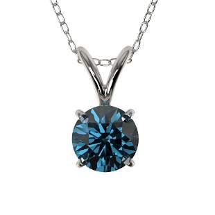 0.51 ctw Certified Intense Blue Diamond Necklace 10k