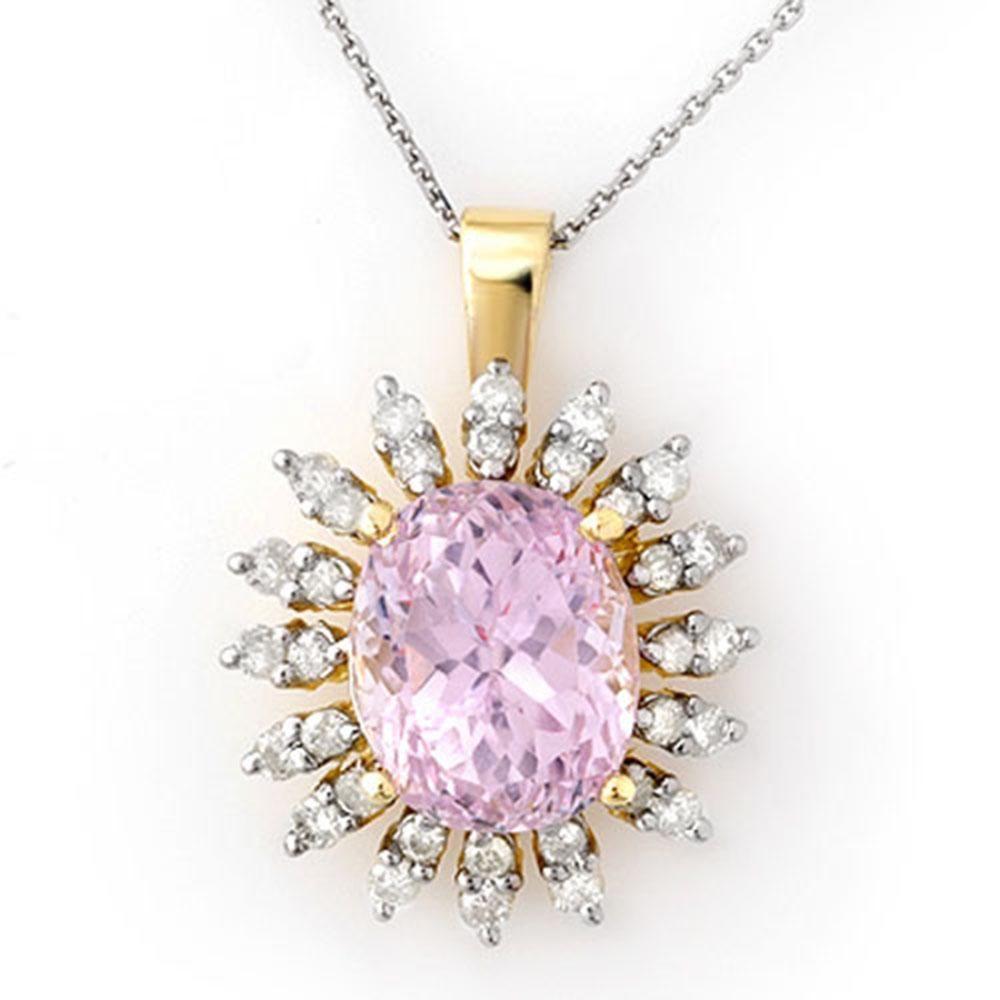 8.68 ctw Kunzite & Diamond Necklace 14k Yellow Gold -