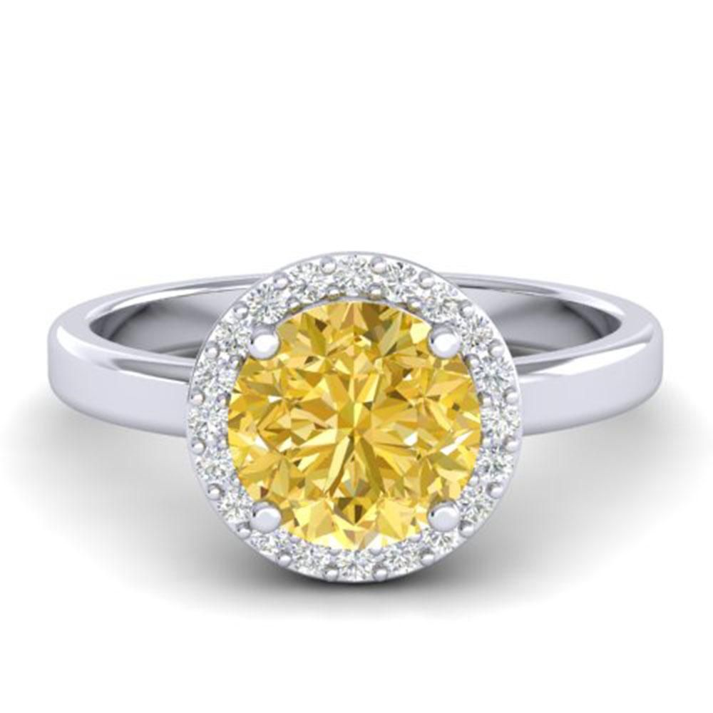 2 ctw Citrine & Halo VS/SI Diamond Micro Pave Ring 18k